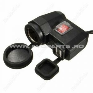Priza Incarcare USB si BRICHETA ghidon moto atv waterproof